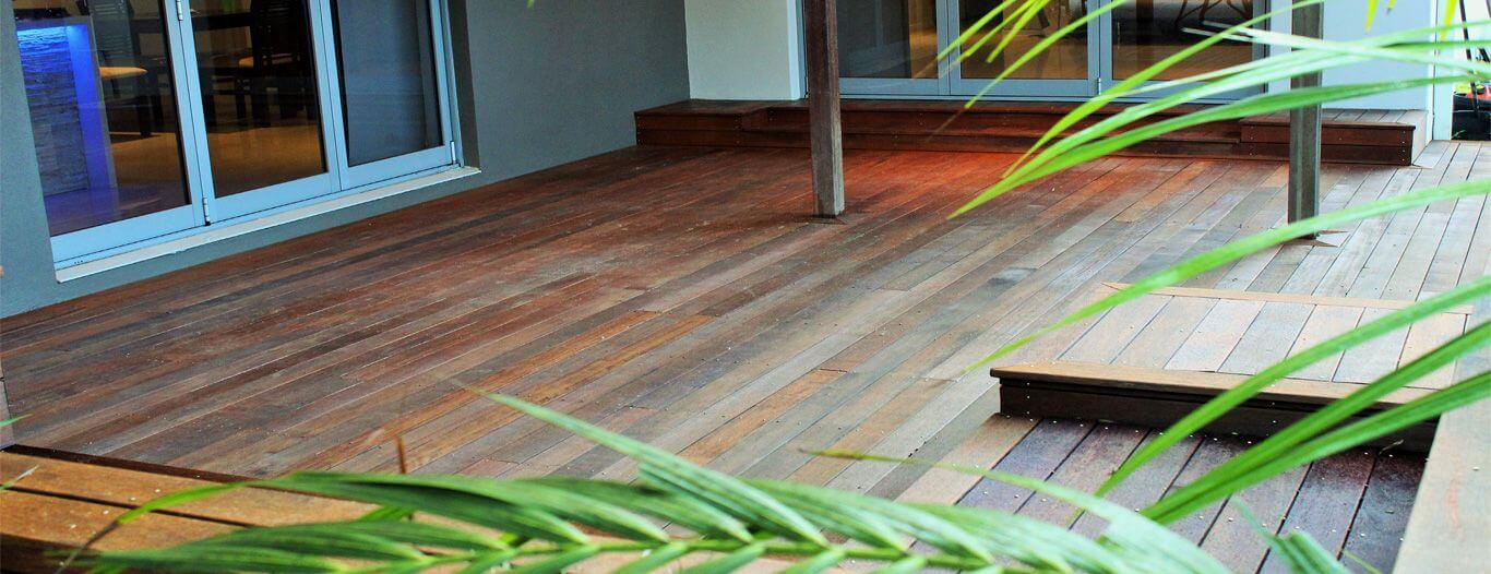 a timber deck outside a gold coast home